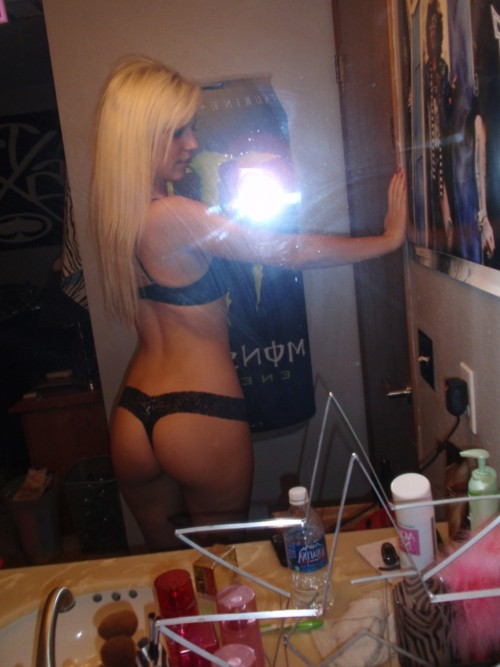 Hot blonde teen from Russia selfshot in black bra and panties