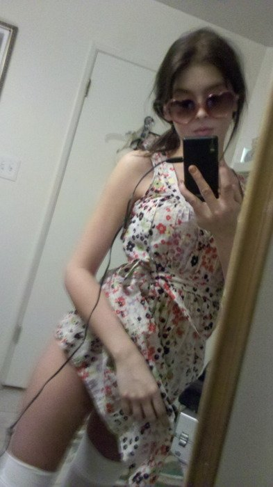 Girl in hot summer dress and hot white nylons selfshot