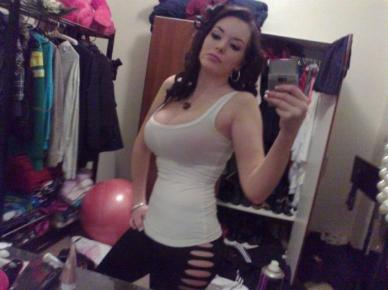 Big tits girl with slim body selfshot in white tank top