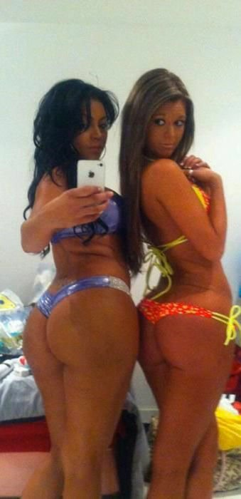 Two big booty hot latinas in bikinis self shot